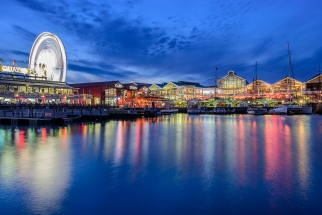 beautiful image V&A waterfront at night blue hour twilight. Photo Tour South Africa