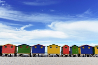 Victorian Bathing Huts Muizenburg captured on full day Cape Point Photo Tour