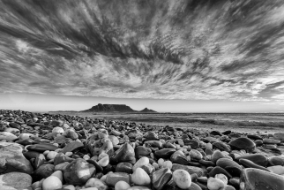 Table Mountain Secret Beach Monochrome. South Africa Photo Tour