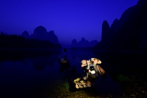Guilin Cormorant Fisherman Blue Hour. China Photo Tour