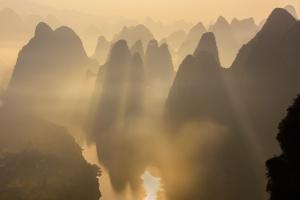 Karst Mountain Sunrise Guilin . China Photo Tour