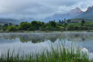 Misty Sunrise Royal Natal National Park. South Africa Photo Tour