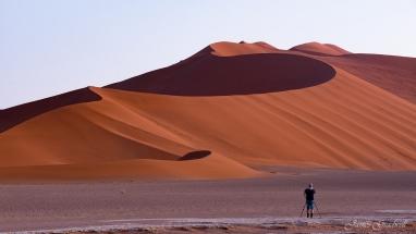 Photographer photographing Sossusvlei Dunes. Namibia photo tours