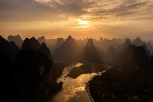 Karst Mountains in Golden Light. Photo Tour China
