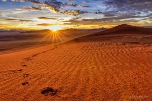 Namibia Dune Sunrise Tirasberg. Copyright James Gradwell