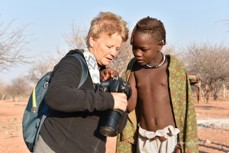 Photography Tours client with Himba. Namibia Photo Tour